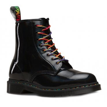 Dr Martens 1460 Pascal Rainbow Womens Patent Leather Boots - Black