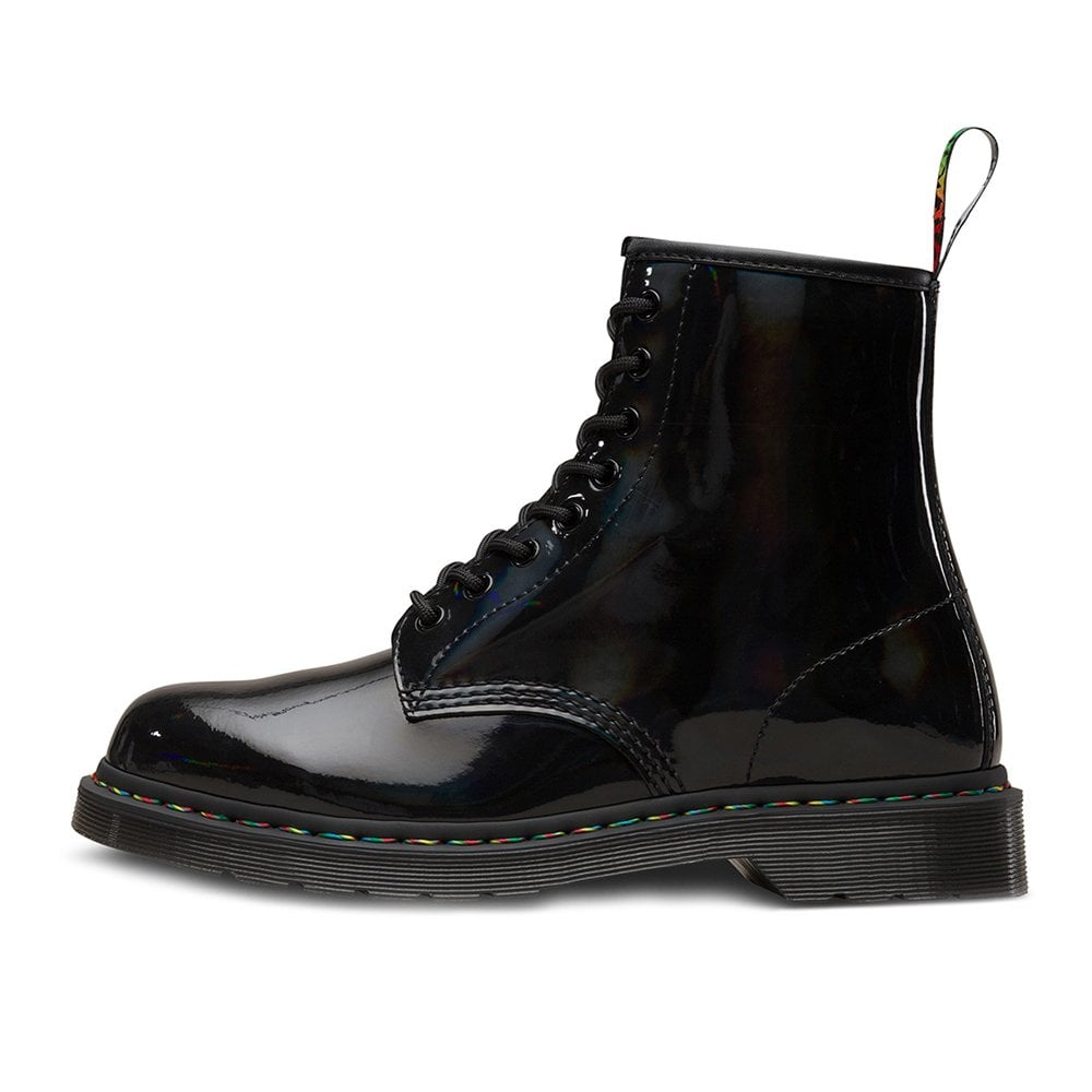 c2133b95745ee6 Dr Martens 1460 Pascal Rainbow Womens Patent Leather Boots - Black