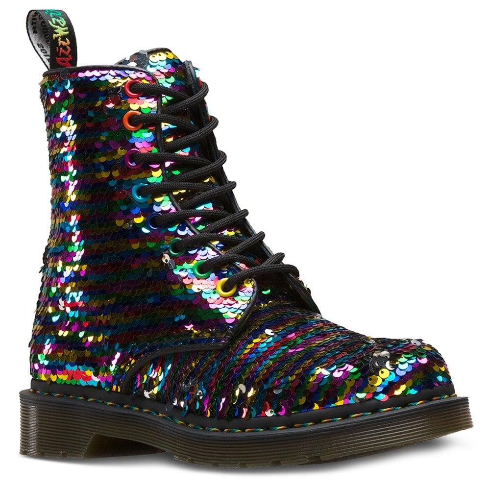 7a5adb52e0cb Dr Martens 1460 Pascal Reversible Sequin Womens 8-Eyelet Boots - Rainbow