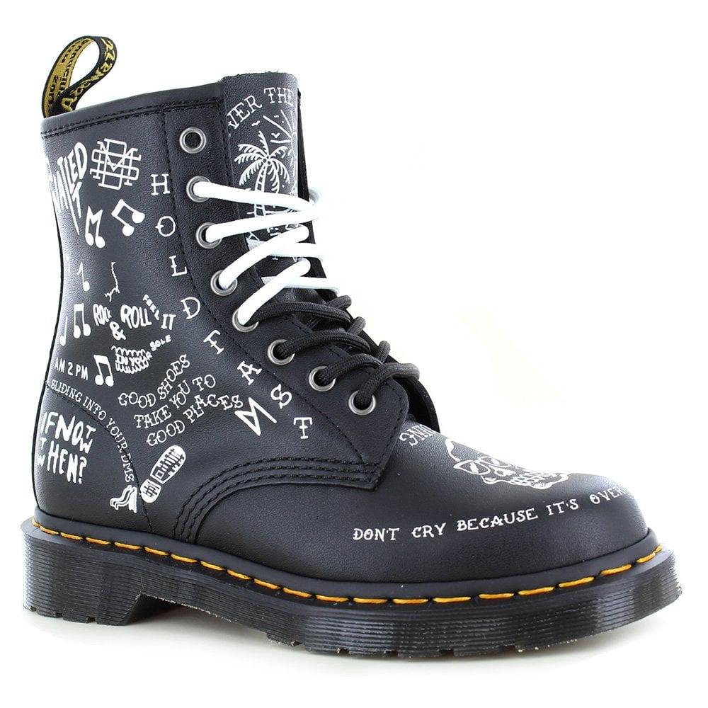 szczegóły dla Cena obniżona wyprzedaż hurtowa 1460 Scribble Unisex Leather Ankle Boots - Black/White