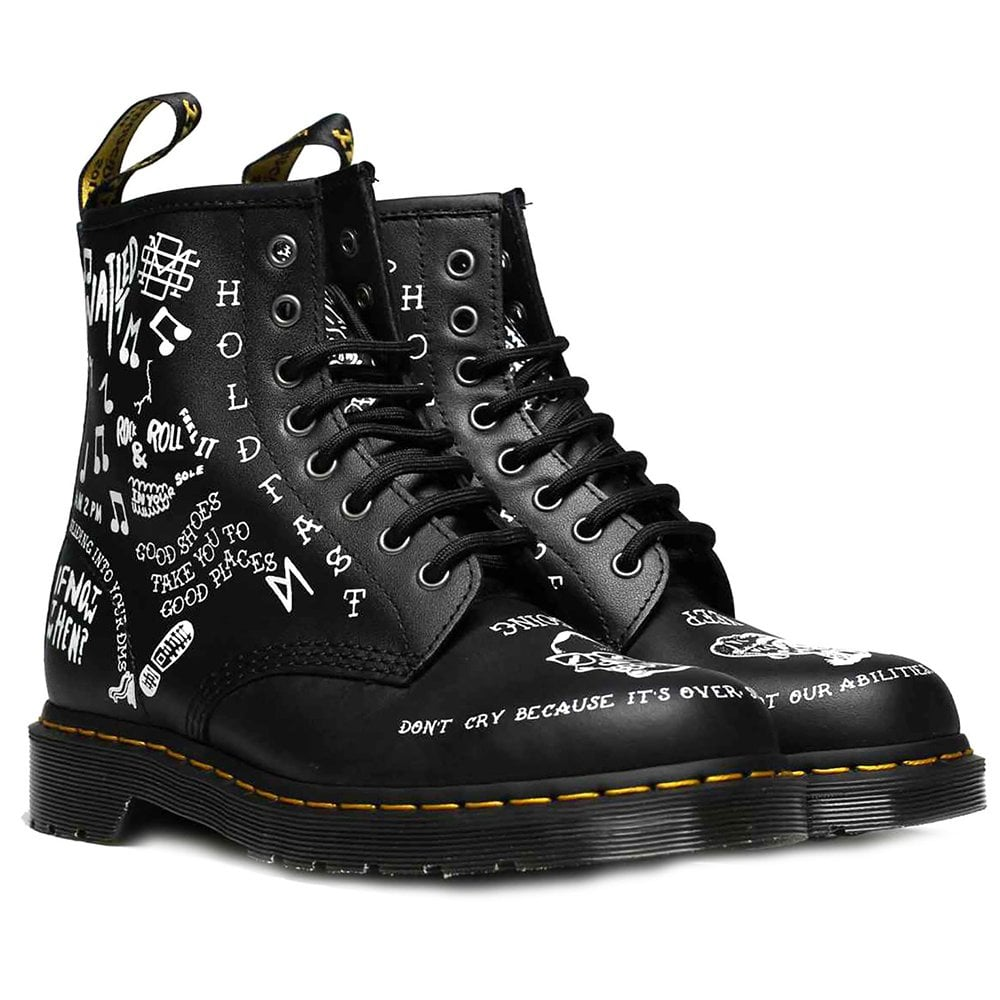 c59edc0eae3 1460 Scribble Unisex Leather Ankle Boots - Black/White