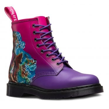 Dr Martens 1460 Technique x New Order Unisex Leather 8-Eylet Boots - Pink + Purple