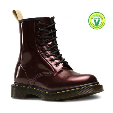 Dr Martens 1460 Womens Vegan 8-Eyelet Boots - Oxblood Chrome Paint 9a28ab0df8
