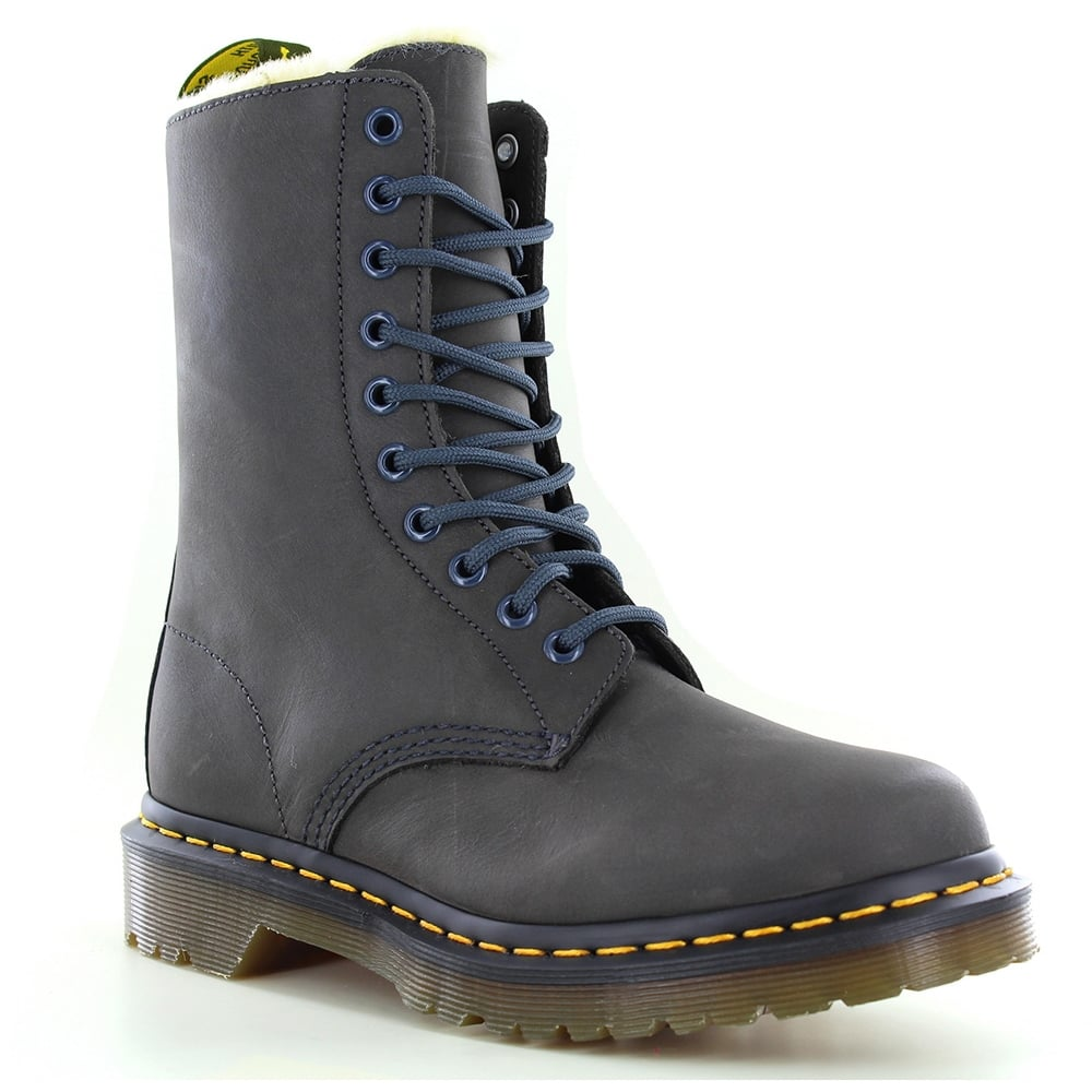 Dr Martens 1490 FL Womens Warm Leather Boots - Graphite Grey 43e65413eee4