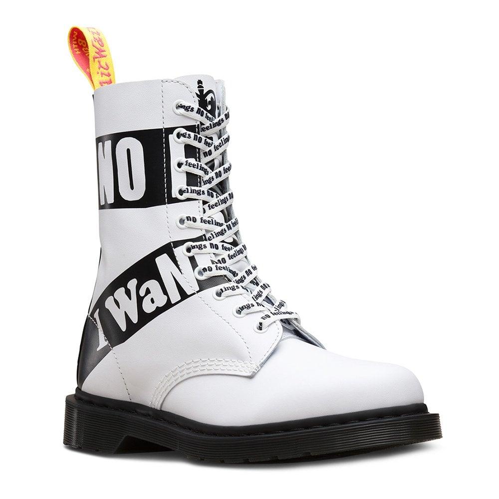 3e1e7670c30f8 1490 Sex Pistols Unisex 10-Eyelet Leather Boots - White Backhand