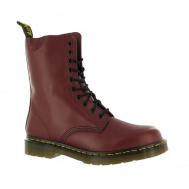 Dr Martens 1490z Boys and Girls Leather Ankle Boots - Cherry Red