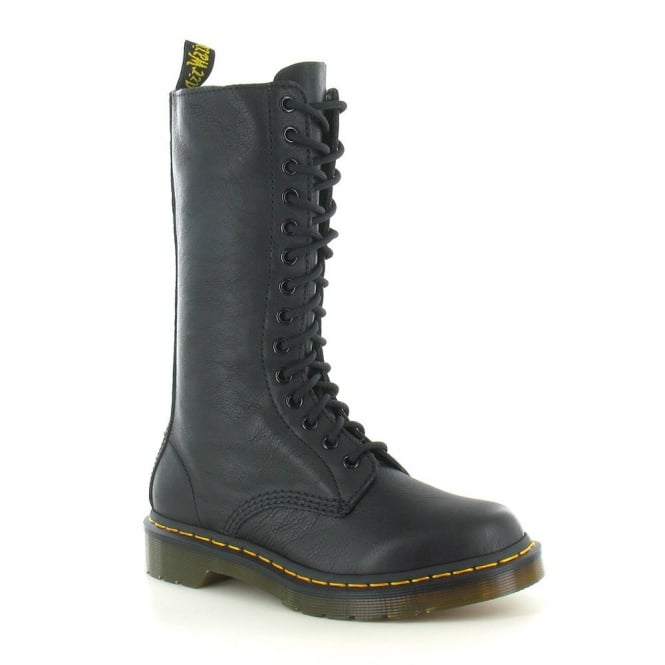 Dr Martens 1B99 Womens 14-Eyelet Zip Leather Boots - Black