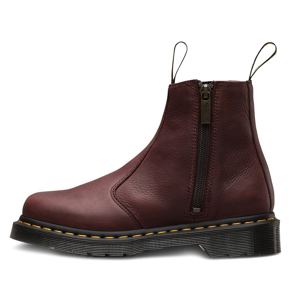 2976 Womens Leather Chelsea Boots With Double Zip Cherry Red