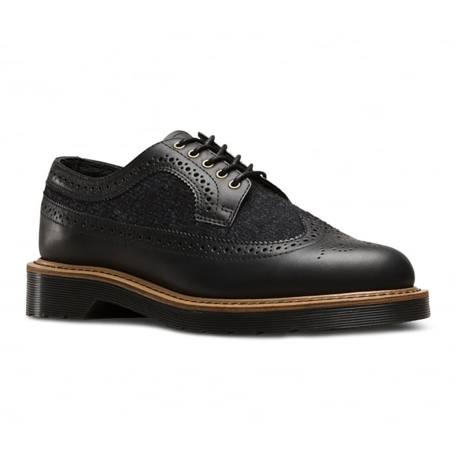 Dr Martens 3989 Mens Leather And Wool Brogue Shoes - Black Dark Grey