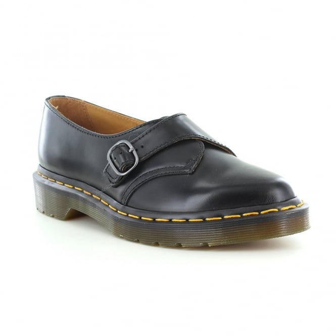 Dr Martens Agnes Womens Leather Pointed Monk Shoes - Black