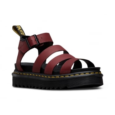 Dr Martens Blair Womens Leather Sandals - Cherry Red