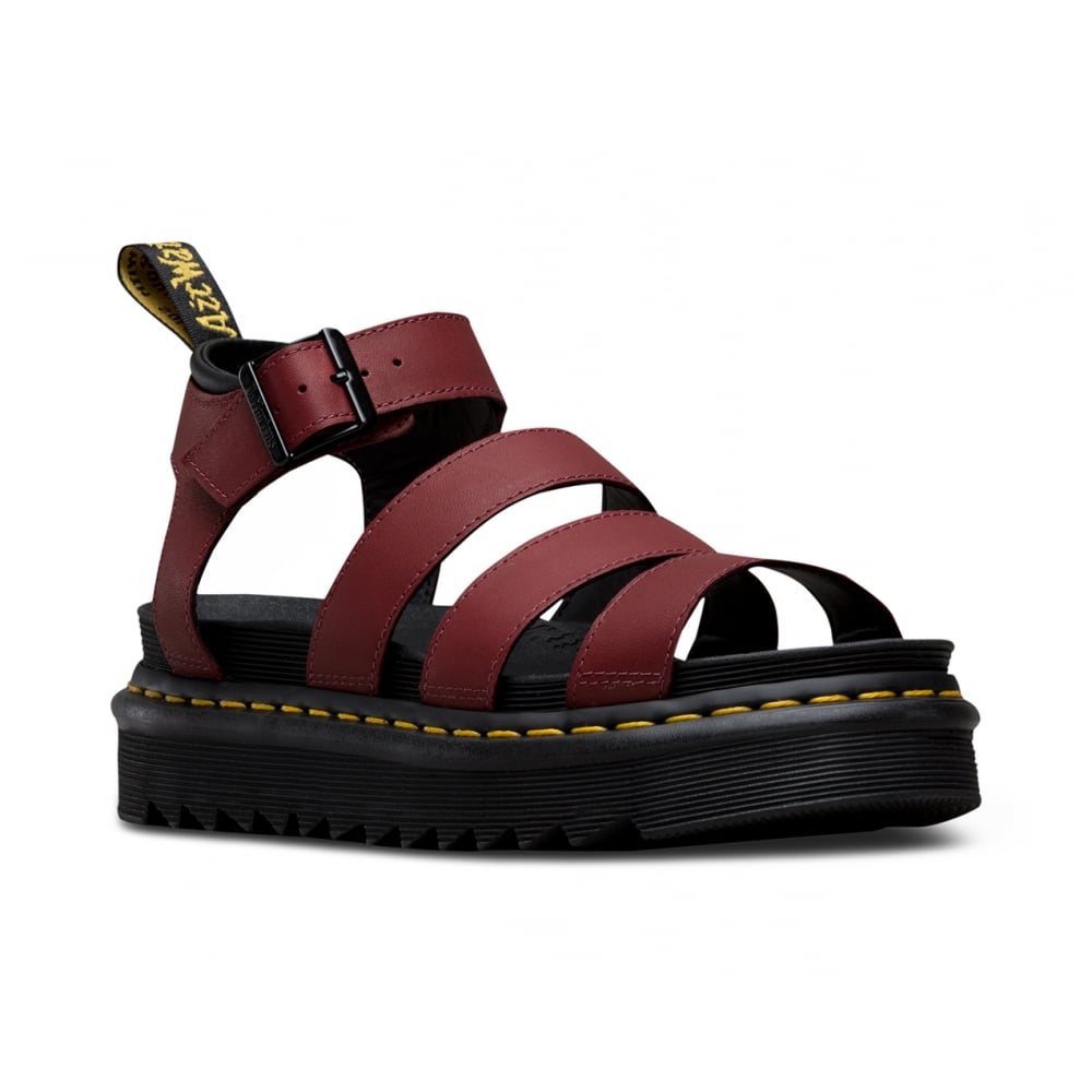 61bc1088207f Dr Martens Blaire Womens Leather Sandals - Cherry Red