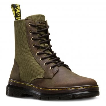 42b29b3dc9 Dr Martens Combs II Unisex Nylon And Leather Ankle Boots - Dark Brown Olive