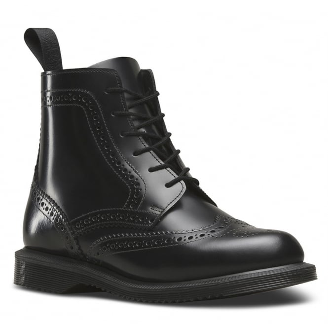 Dr Martens Delphine Womens 6-Eyelet Brogue Boots - Black