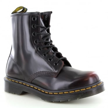 Dr Martens 1460 W Womens 8-Eyelet Rub Off Leather Boots - Cherry Red