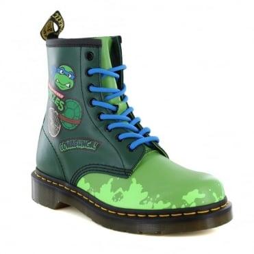 Dr Martens Leo J Teenage Mutant Ninja Turtles Kids Leather 8-Eyelet Boots - Green Multi