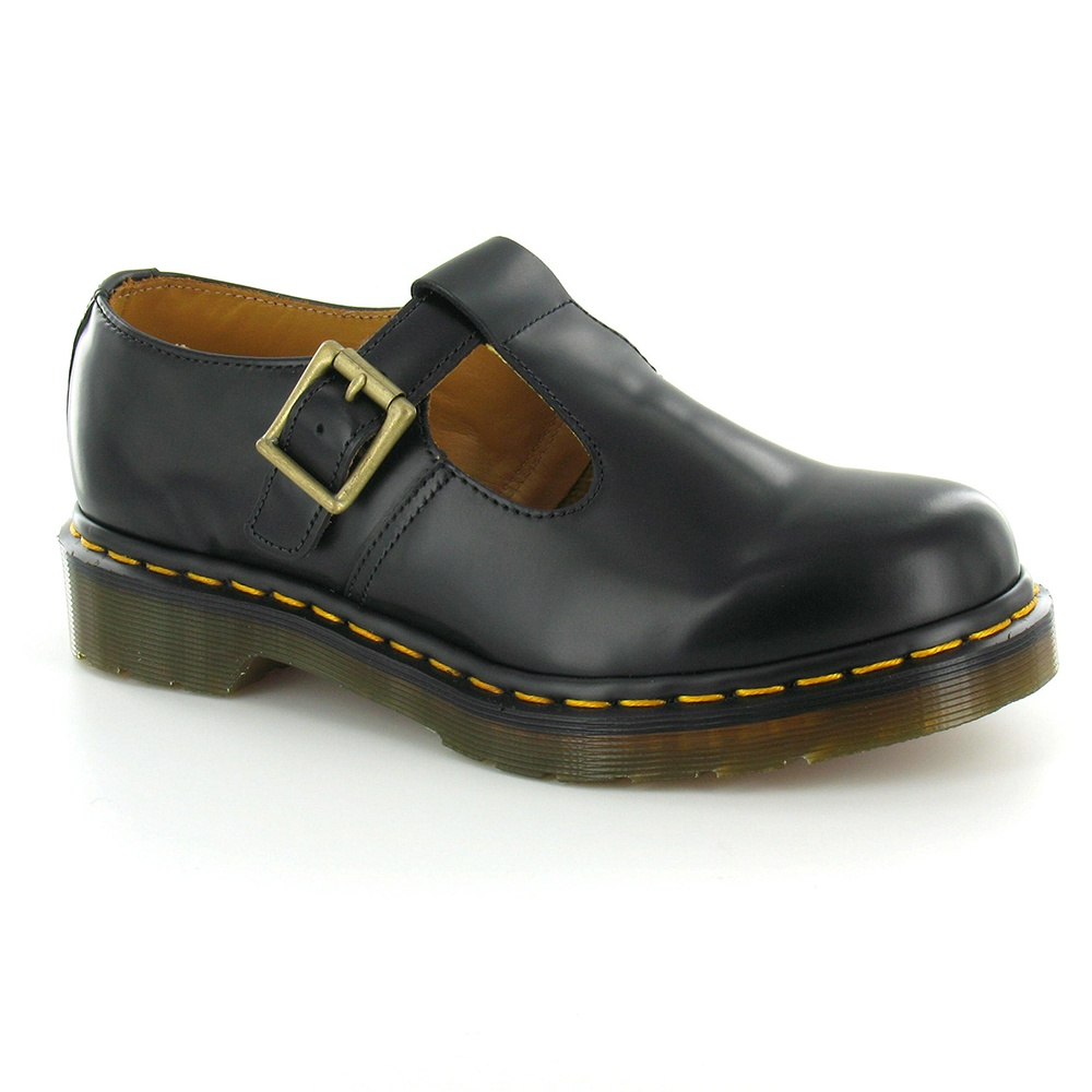 Dr Martens Polley Womens Leather Flat T-Bar Shoes - Black (Yellow Welt) 77678389c