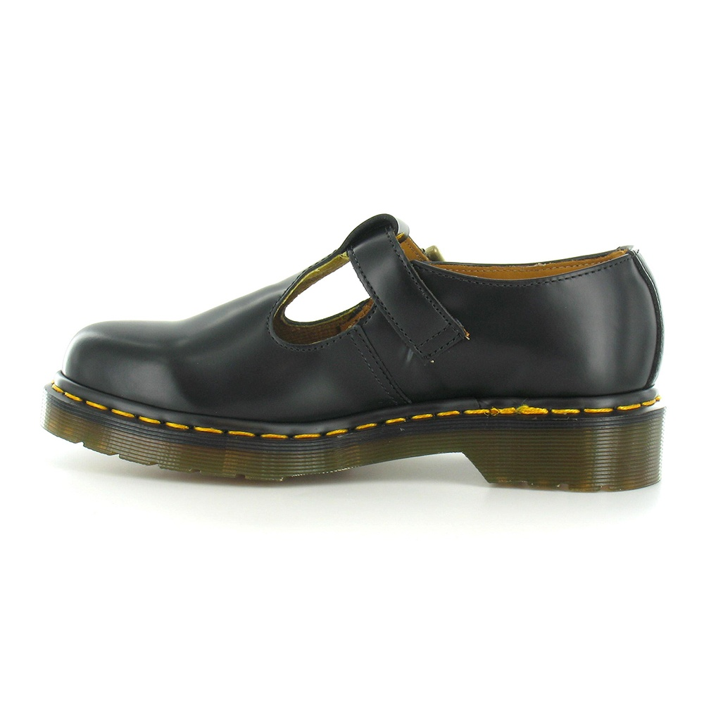 Dr Martens Polley Womens Leather Flat T-Bar Shoes - Black (Yellow Welt) d6e4909ffd