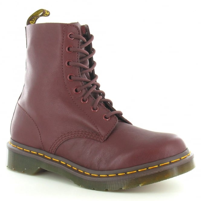 Dr Martens Womens Pascal Leather 8-Eyelet Boots – Cherry Red