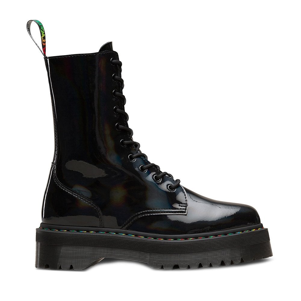 moderate cost outlet boutique fashion styles Jadon Hi Rainbow Womens Patent Leather Boots - Black