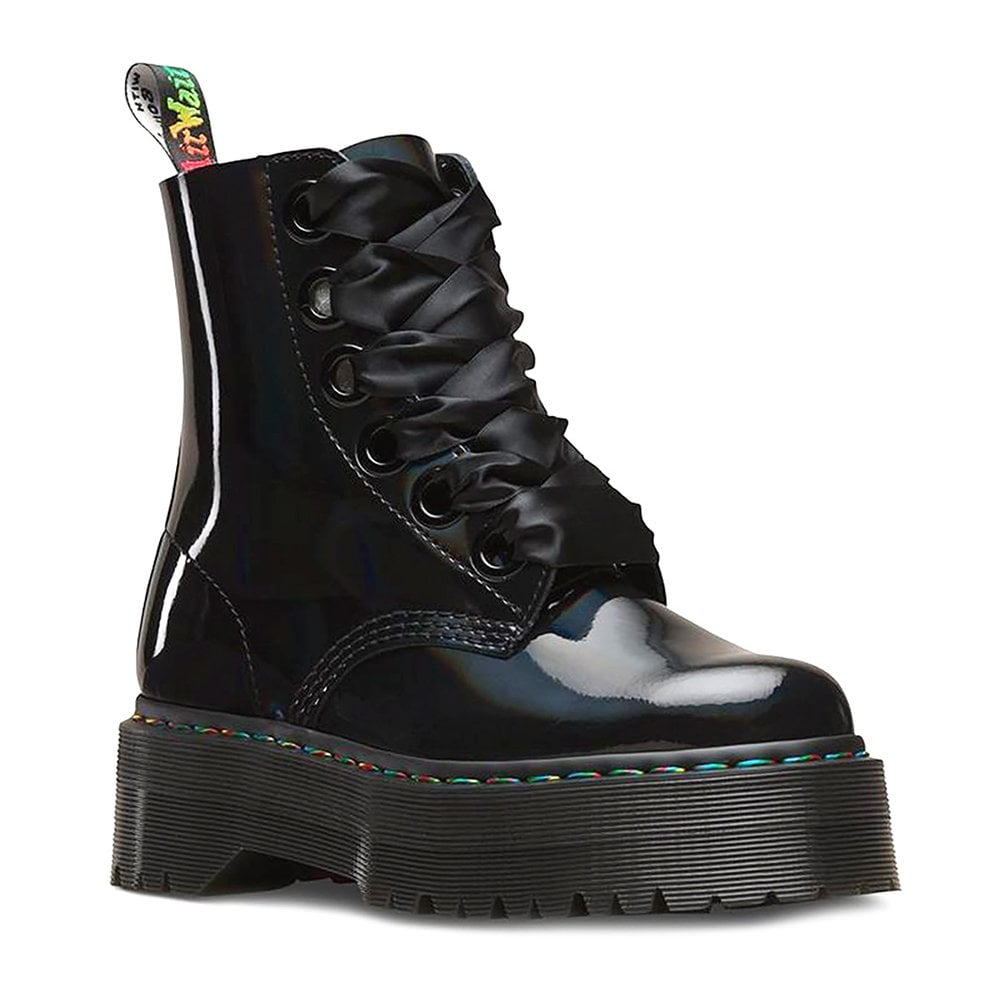 on sale online vast selection on sale Molly Rainbow Patent Leather Womens 8-Eyelet Boots - Black