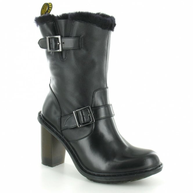 Dr Martens Parkway Hanna Womens Heeled Leather Boot - Black