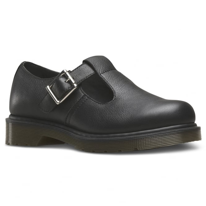 Dr Martens Polley Womens Virginia Leather Flat T-Bar Shoes - Black (No Z Welt)