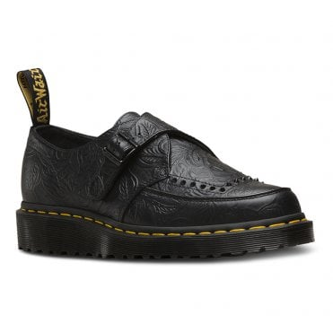 Dr Martens Ramsey II Men and Womens Embossed Leather Monk Shoes - Black