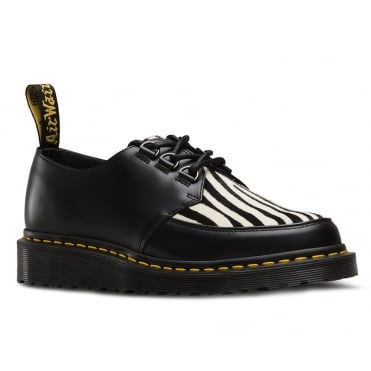 Dr Martens Ramsey Zebra Unisex Leather Creeper Style Shoes - Black Zebrino