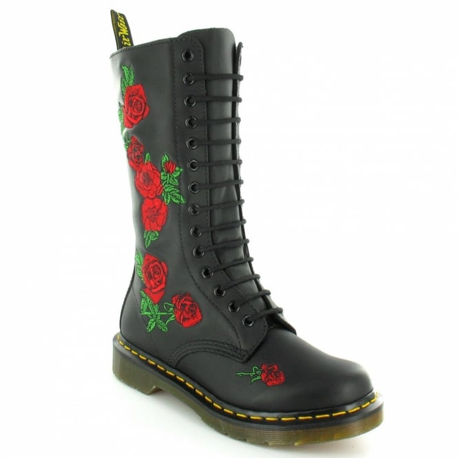 Dr Martens Vonda Womens Modern Classics Rose 14-Eye Mid-calf Boots - Black