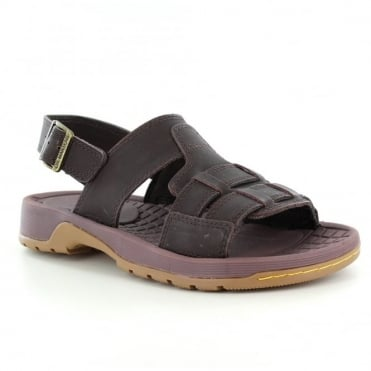 Dr Martens Wharf Mens Open Toe Leather Sandals - Dark Brown