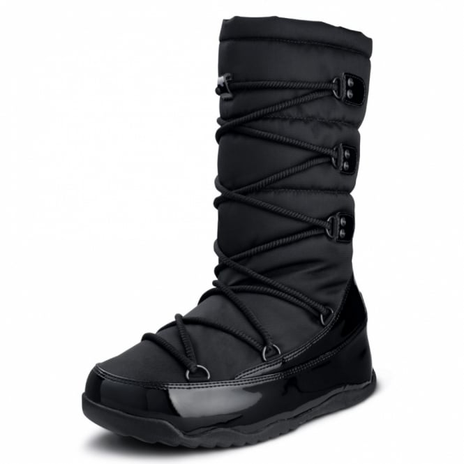 FitFlop Blizz Boot Womens Patent Leather Waterproof Mid-calf Boots - Black