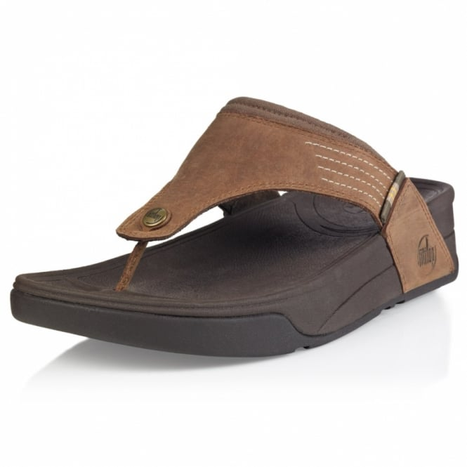 ae679b9a69418 FitFlop Dass Mens Leather Toe-post Flip Flop Sandals - Tan Brown ...