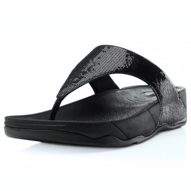 b021907b371 FitFlop Electra Womens Glitter Girl Toepost Sandals - Black - Womens ...