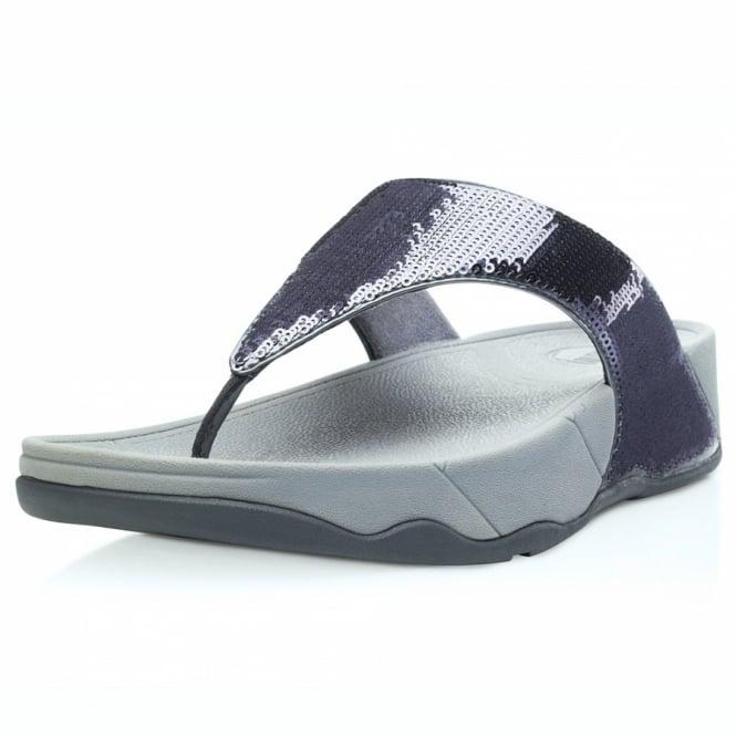 0cb00a2b95b FitFlop Electra Womens Glitter Girl Toepost Sandals - Pewter ...