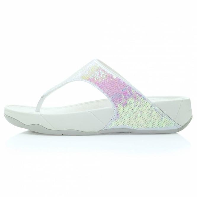8b048745487f FitFlop Electra Womens Glitter Girl Toepost Sandals - Iridescent White