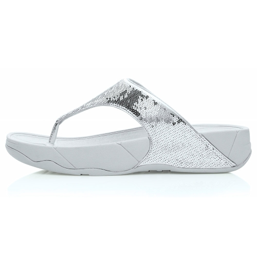 650d1f2d7b0 FitFlop Electra Womens Sequin Toe-post Sandals - Silver - Womens ...