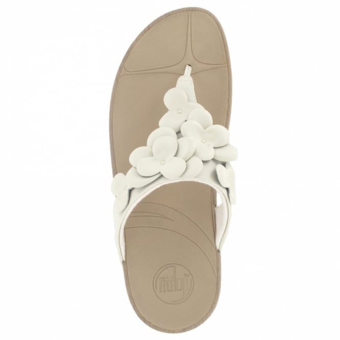 fdb669939f13 FitFlop Fleur Womens Leather Flower Toepost Sandals in Urban White ...