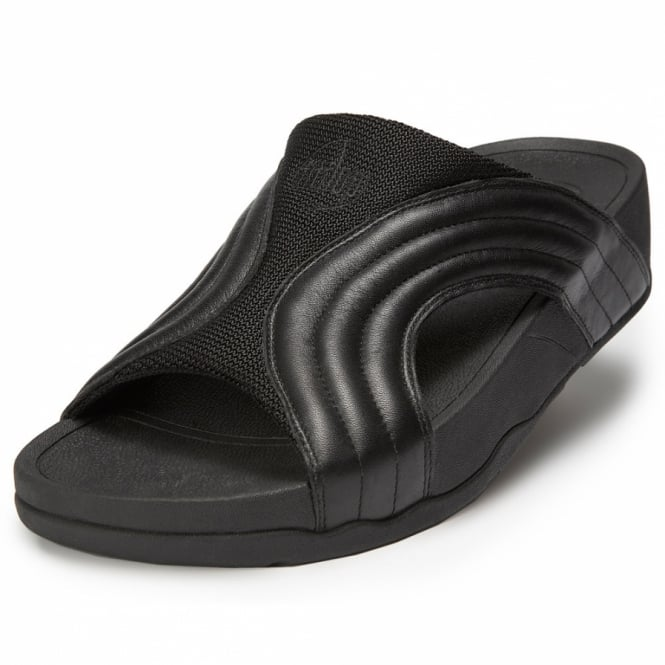 fa7b45677e68 FitFlop Freeway Mens Leather Mule Sandals - Black - Womens from ...