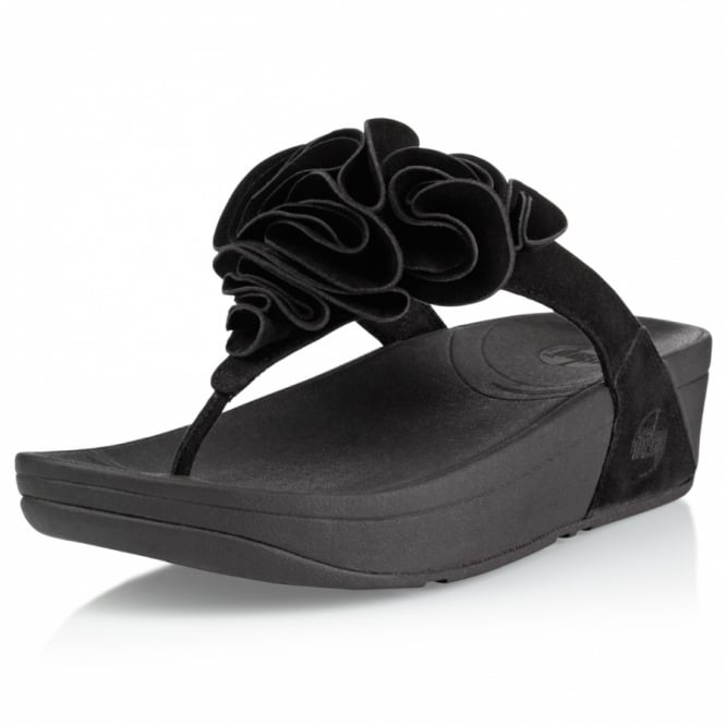 4b1435254 FitFlop Frou Womens Ruffled Suede Leather Sandals - Black - Womens ...
