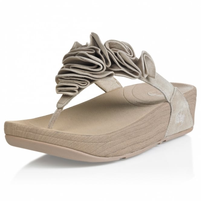 06a755ebb FitFlop Frou Womens Ruffled Suede Leather Sandals - Pebble Grey ...