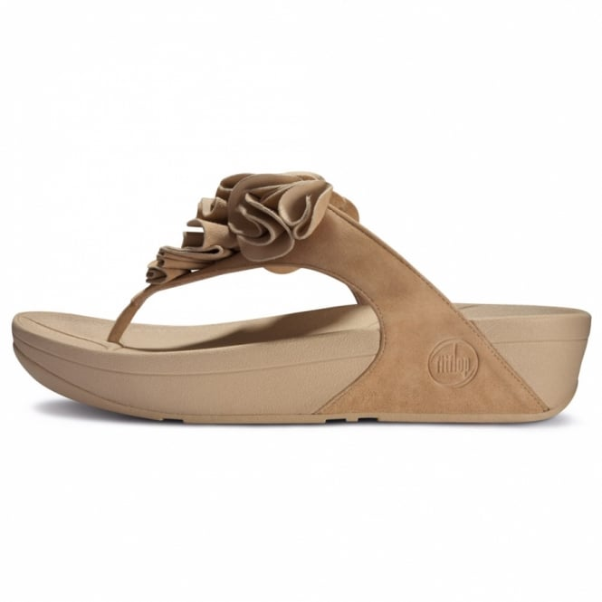 7e7ff724d FitFlop Frou Womens Ruffled Suede Leather Flip-flop Sandals - Maple Sugar  Beige