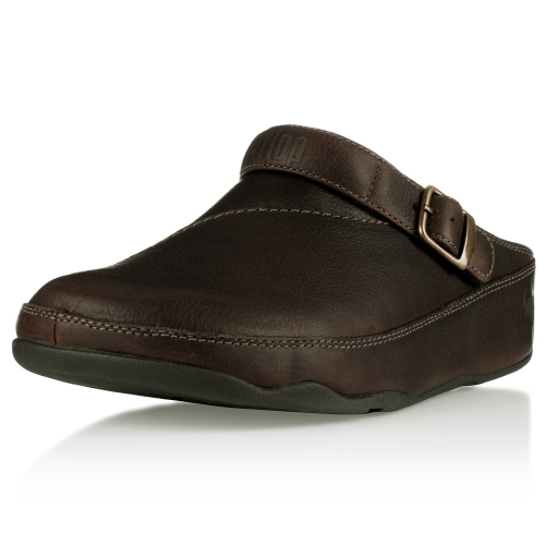 Fitflop Gogh Mens Leather Clogs Chocolate Brown