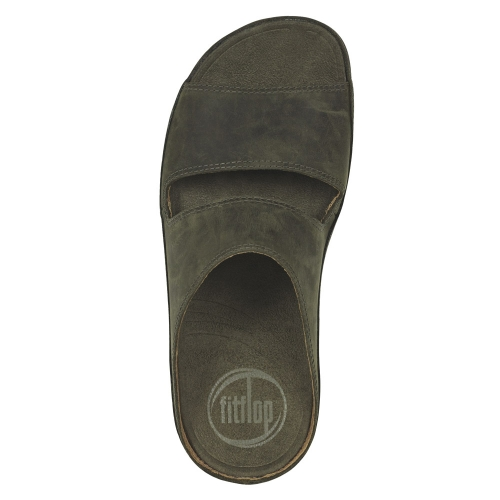 a6f9646d1c7c FitFlop Gogh Slide Mens Leather Slip-on Sandals - Sergeant Green