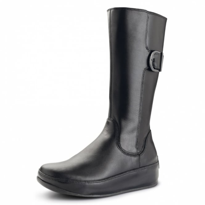 3a8ae56b94040 FitFlop Hooper Boot Tall Womens Mid-calf Leather Boots - Black ...