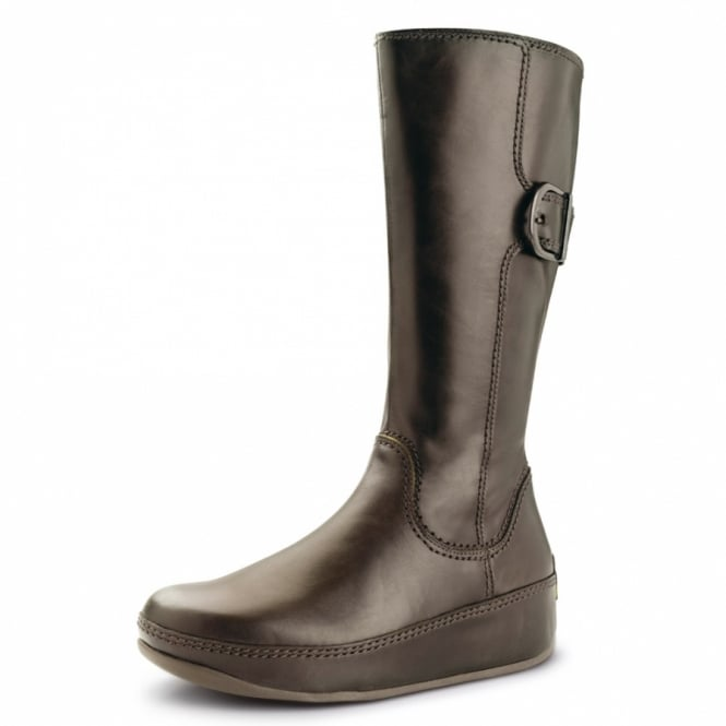 752b3fb8b971 FitFlop Hooper Boot Tall Womens Mid-calf Leather Boots - Chocolate Brown