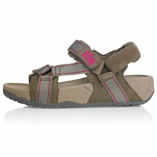 ff32aca5cc5e7 FitFlop Hyka Womens Suede Leather Walking Sandals - Dark Taupe ...