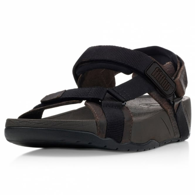 5de4cc25192 FitFlop Hyker Mens Leather Rugged Walking Sandals - Brown - Mens ...