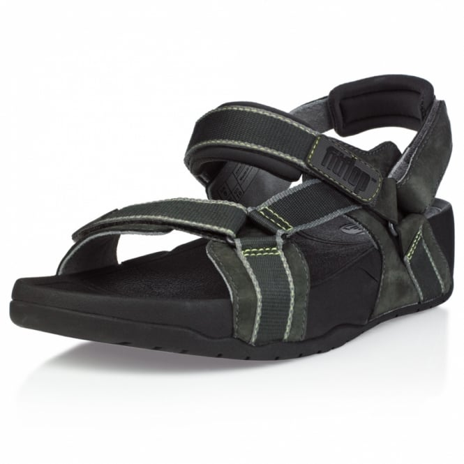 eeec56aff9ae FitFlop Hyker Mens Leather Rugged Walking Sandals - Charcoal Grey + Black