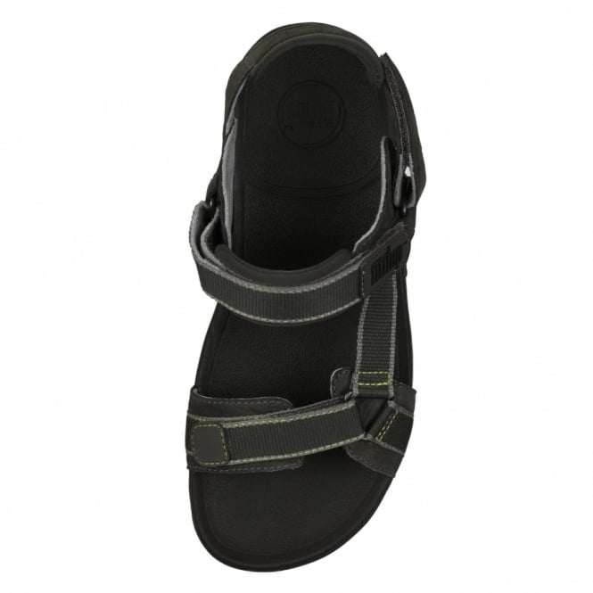 32de9f90b26 FitFlop Hyker Mens Leather Rugged Walking Sandals - Charcoal Grey + Black